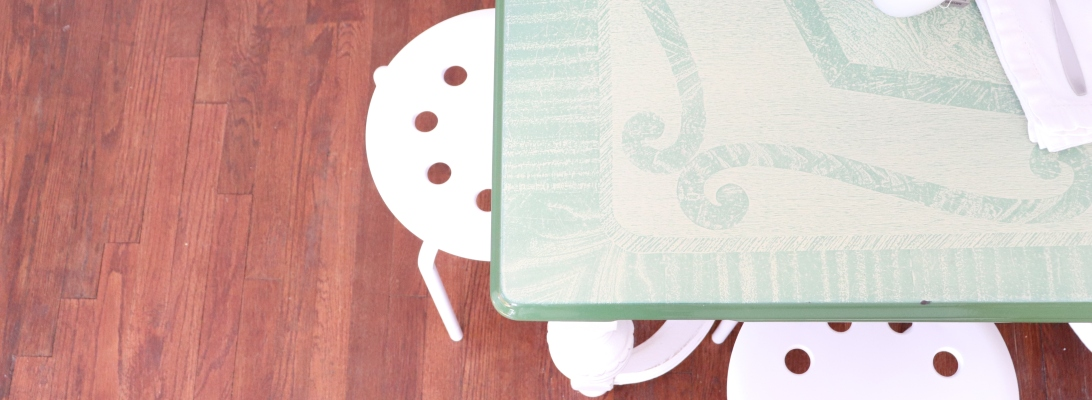 Showing how vintage table works well with Ikea stools
