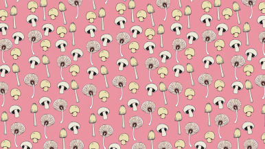 Pink pattern wallpaper for devices with mushroom doodles