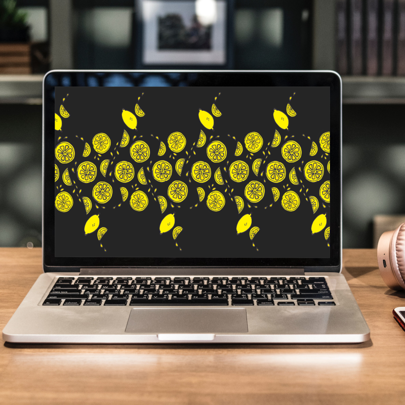 citrus fruit wallpaper, yellow lemons on black background pattern