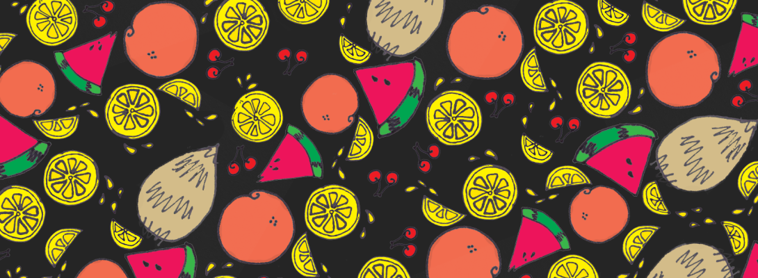 fruit wallpaper, oranges, lemons, cherries, watermelon and coconut pattern