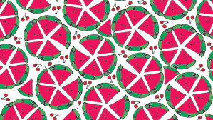 watermelon device wallpaper, pink and green pattern with red cherries