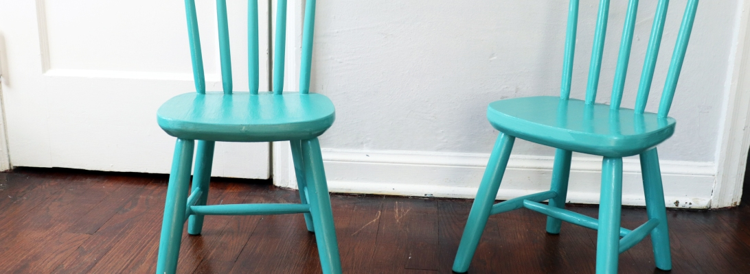 Vintage IKEA Blue Chair Transformation with Good Bones Paint